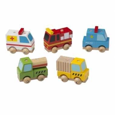 Groothandel houten speelgoed vrachtwagen geel kopen