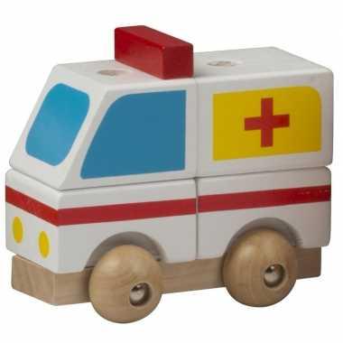 Groothandel houten speelgoed ziekenwagen wit kopen