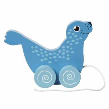 Groothandel houten trekdiertje zeehond 13 cm speelgoed kopen