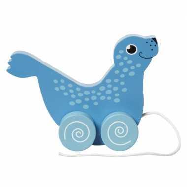 Groothandel houten trekdiertje zeehond 13 cm speelgoed