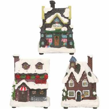 Groothandel kerstdorp huisjes set van 3x huisjes met led verlichting 12 cm speelgoed kopen