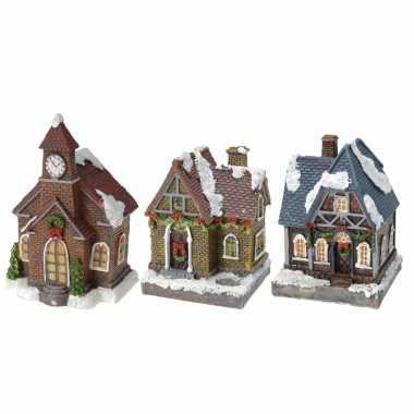 Groothandel kerstdorp huisjes set van 3x huisjes met led verlichting 13 cm speelgoed kopen