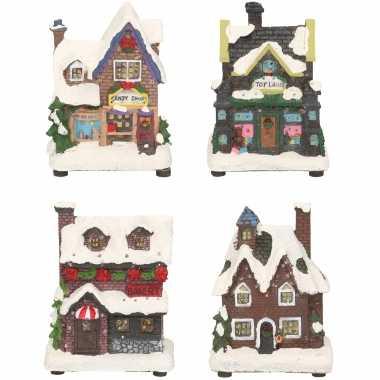 Groothandel kerstdorp huisjes set van 4x huisjes met led verlichting 12 cm speelgoed kopen