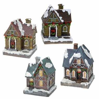 Groothandel kerstdorp huisjes set van 4x huisjes met led verlichting 13.5 cm speelgoed kopen
