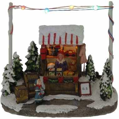 Groothandel kerstdorp kersthuisje speelgoed winkel/kraam 16 cm met le