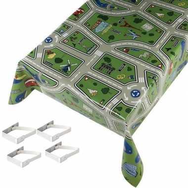 Groothandel kinder tafelkleden tafelzeilen speelkleed patroon 140 x 245 cm rechthoekig met 4x tafelk