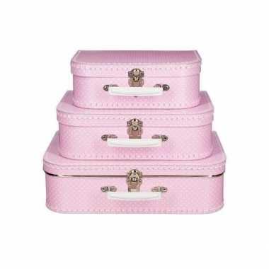 Groothandel kinderkoffertje roze witte stip 25 cm speelgoed