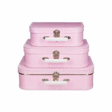 Groothandel kinderkoffertje roze witte stip 30 cm speelgoed
