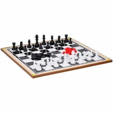 Groothandel kinderspeelgoed schaakbord en dambord 38 x 38 cm kopen