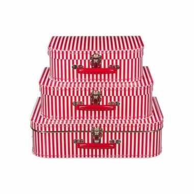Groothandel kraamkado koffertje rood gestreept 30 cm speelgoed kopen