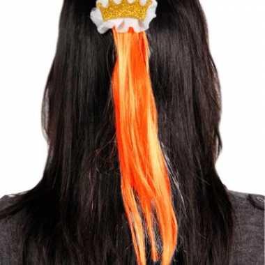 Groothandel kroon speld met oranje haar pluk speelgoed
