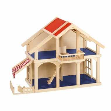 Groothandel luxe houten poppenhuis met balkon en veranda speelgoed ko