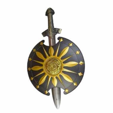 Groothandel middeleeuws zwaard met rond schild goud/zwart speelgoed kopen