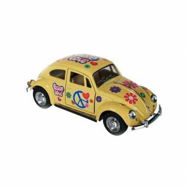 Groothandel modelautootje vw beetle geel hippie 12,5 cm speelgoed kop