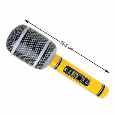 Groothandel opblaasbare microfoon geel/zwart 55 cm speelgoed kopen