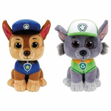Groothandel paw patrol knuffels set van 2x karakters chase en rocky 15 cm speelgoed kopen