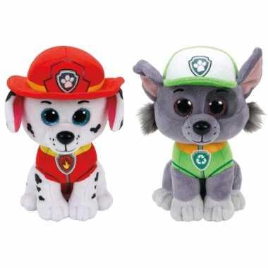 Groothandel paw patrol knuffels set van 2x karakters marshall en rocky 15 cm speelgoed kopen