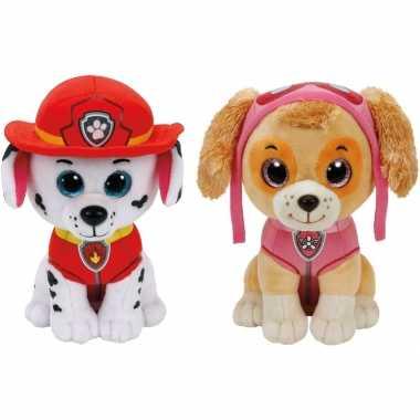 Groothandel paw patrol knuffels set van 2x karakters marshall en skye 15 cm speelgoed kopen