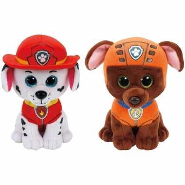 Groothandel paw patrol knuffels set van 2x karakters marshall en zuma 15 cm speelgoed kopen