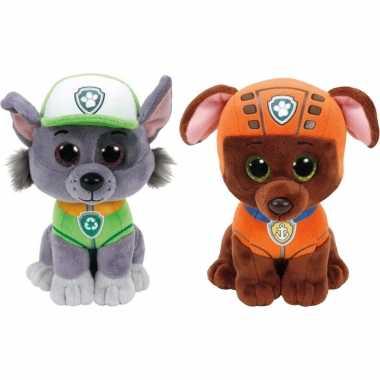 Groothandel paw patrol knuffels set van 2x karakters rocky en zuma 15 cm speelgoed kopen