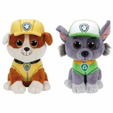 Groothandel paw patrol knuffels set van 2x karakters rubble en rocky 15 cm speelgoed kopen