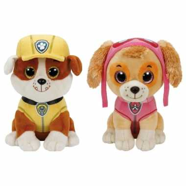 Groothandel paw patrol knuffels set van 2x karakters rubble en skye 15 cm speelgoed kopen