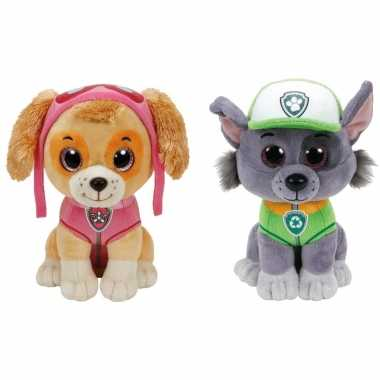 Groothandel paw patrol knuffels set van 2x karakters skye en rocky 15 cm speelgoed kopen