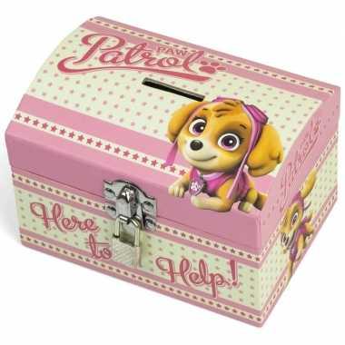 Groothandel paw patrol roze speelgoed spaarpot met slotje voor meisje
