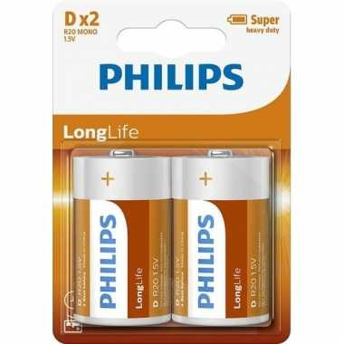 Groothandel phillips long life batterijen r20 1,5 volt 2 stuks speelg