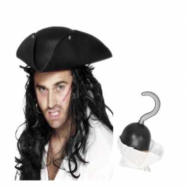 Groothandel piraten verkleed accessoires driehoekige hoed en haak spe