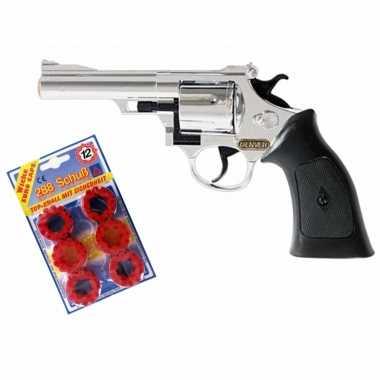 Groothandel plaffertjes speelgoed pistool/revolver met 12 schoten magazijn kopen