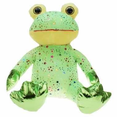 Groothandel pluche groene kikker knuffel met glitters 30 cm speelgoed kopen