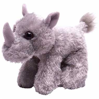 Groothandel pluche knuffel knuffeldier neushoorn grijs 18 cm speelgoed