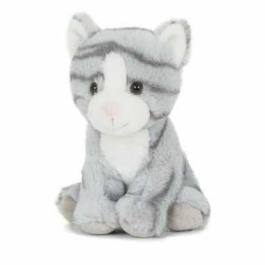 Groothandel pluche speelgoed poes/kat knuffeldier grijs 18 cm kopen