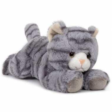 Groothandel pluche speelgoed poes/kat knuffeldier grijs 25 cm kopen