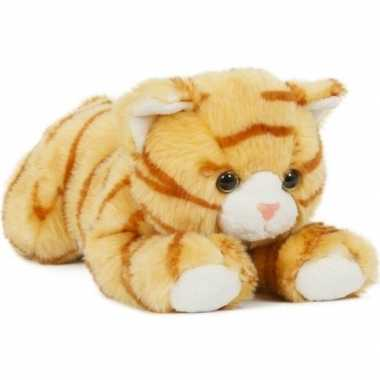 Groothandel pluche speelgoed poes/kat knuffeldier oranje 25 cm kopen