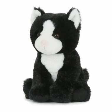 Groothandel pluche speelgoed poes/kat knuffeldier zwart/wit 18 cm kop