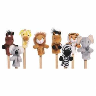 Groothandel pluche vingerpoppetjes van dieren 8x speelgoed kopen