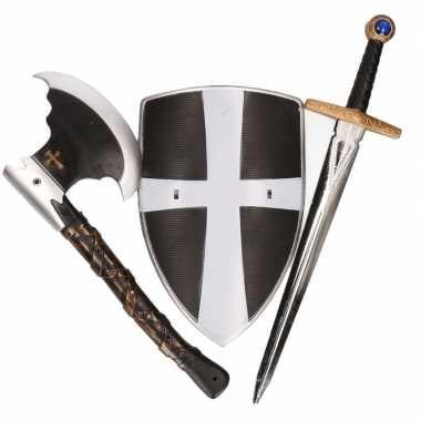 Groothandel ridder wapens set zwart/wit 3 delig speelgoed kopen