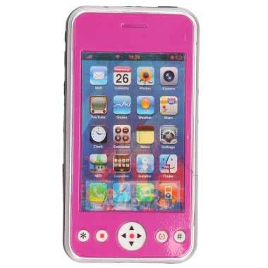 Groothandel roze speelgoed smartphone/mobiele telefoon met licht en geluid 11 cm kopen