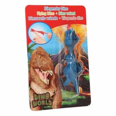 Groothandel rubberen blauwe speelgoed dino world vingerpoppetje t-rex