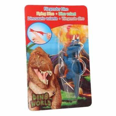 Groothandel rubberen blauwe speelgoed dino world vingerpoppetje trice