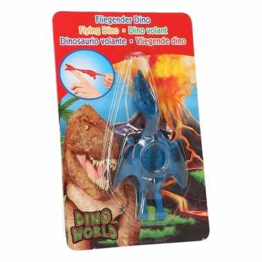 Groothandel rubberen speelgoed dino world blauwe vingerpoppetje ptero