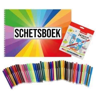 Groothandel schetsboek kleurenwaaier thema a4 50 paginas met 50 viltstiften en 24 potloden speelgoed kopen