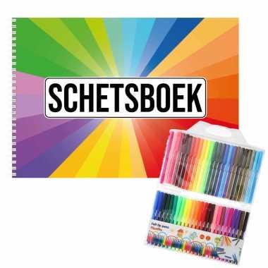 Groothandel schetsboek kleurenwaaier thema a4 50 paginas met 50 viltstiften speelgoed kopen