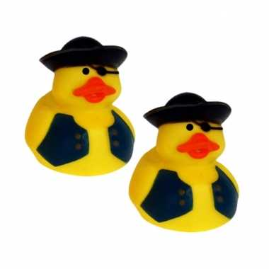 Groothandel set van 10x stuks geel piraten badeendje met zwart vest 5 cm speelgoed kopen