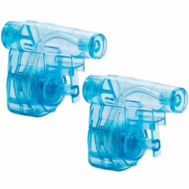 Groothandel set van 15x stuks mini blauw waterpistool 5 cm speelgoed kopen