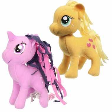 Groothandel set van 2x pluche my little pony speelgoed knuffels applejack en sparkle 13 cm kopen