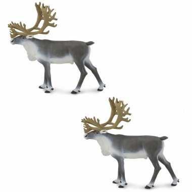 Groothandel set van 2x stuks plastic speelgoed figuur rendieren karibou 11 cm kopen