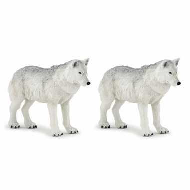 Groothandel set van 2x stuks plastic speelgoed figuur witte wolven 9,5 cm kopen